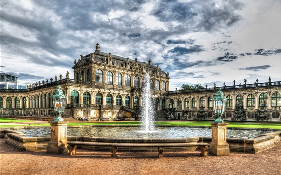 Wallpaper Zwinger Palace, Dresden, Germany, houses, fountain, clouds