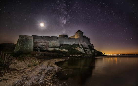 Wallpaper Ackerman, Ukraine, stars, castle, river, night