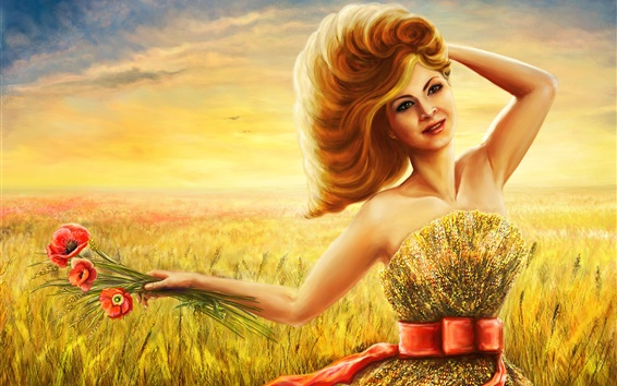 Fond d'écran dessin Art, fille sourire en été, champ de blé