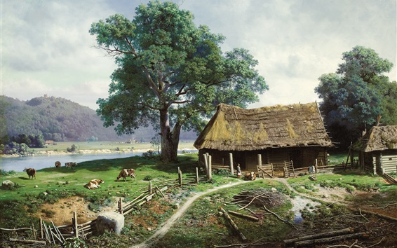 Wallpaper Art painting, farm, farmer, houses, countryside, cow, river, trees