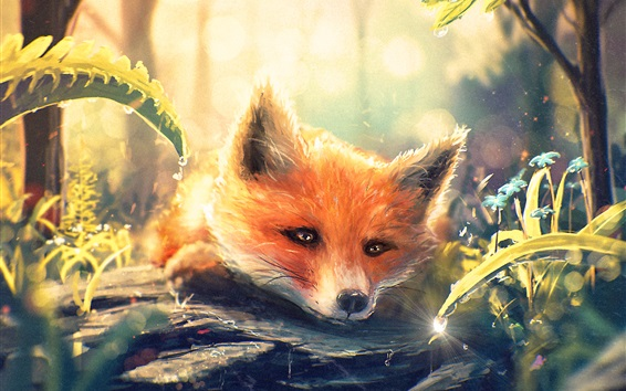 Wallpaper Art painting, fox in forest, water droplets, flowers