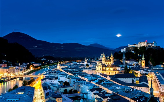 Wallpaper Austria, Salzburg, city night, street, houses, lights, mountains