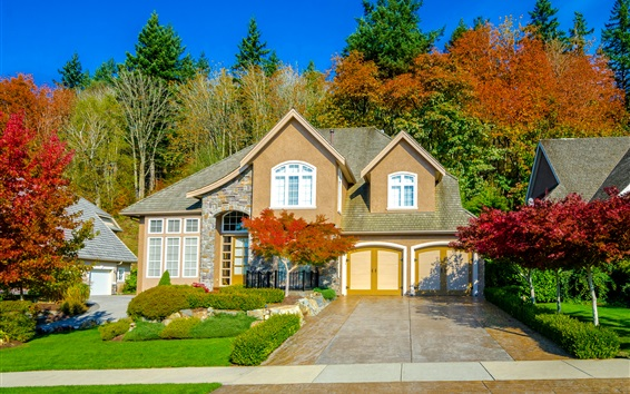 Wallpaper Autumn, house, villa, trees