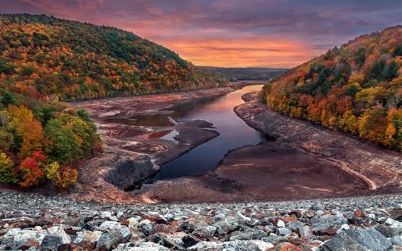 Wallpaper Autumn, sunset, trees, river, rocks