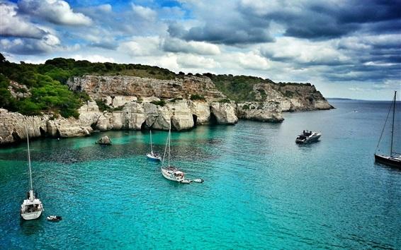 Fondos de pantalla Baleares, Mallorca, mar, barcos, nubes