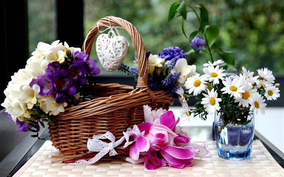 Wallpaper Basket, colorful flowers, freesia, hyacinths, chamomile, cyclamen
