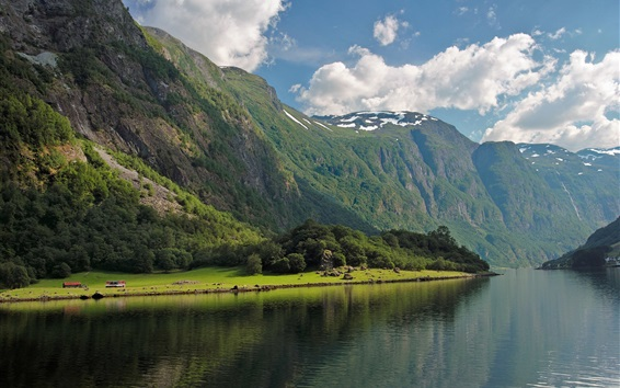 Wallpaper Bay Fjord, Norway, forest, river, mountains, clouds