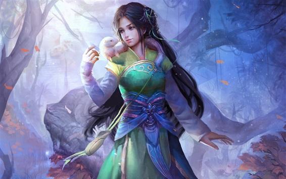Papéis de Parede menina da fantasia chinesa bonita, estilo retro
