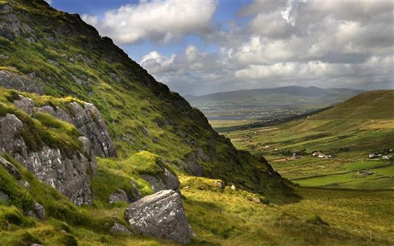 Fond d'écran Belle Irlande nature paysage, montagnes, herbe, nuages