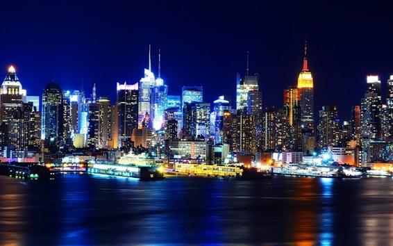 배경 화면 아름다운 뉴욕 도시의 밤, 맨하탄, 미국, 고층 빌딩, 조명