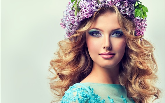 Wallpaper Beautiful blonde girl, flowers, wreath