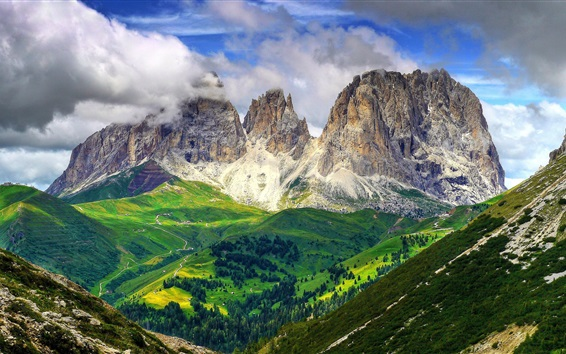Wallpaper Beautiful nature landscape, mountains, slope, trees, clouds