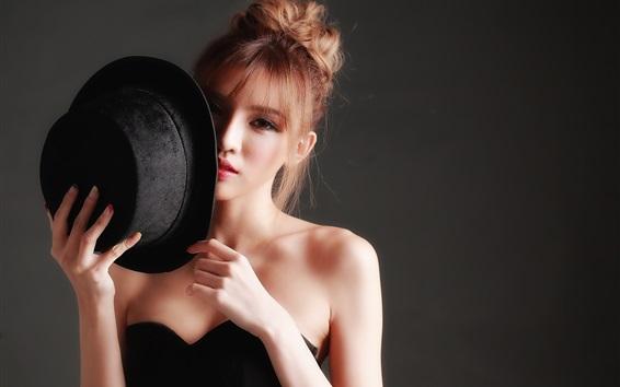 Wallpaper Black dress Asian girl, hat, hands