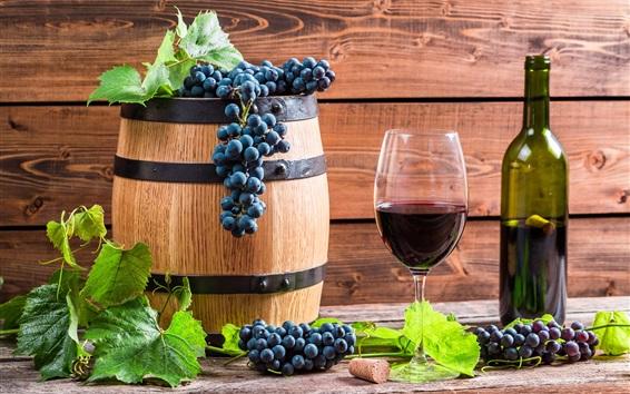Fond d'écran raisins noirs, vin, bouteille, feuilles, seau en bois