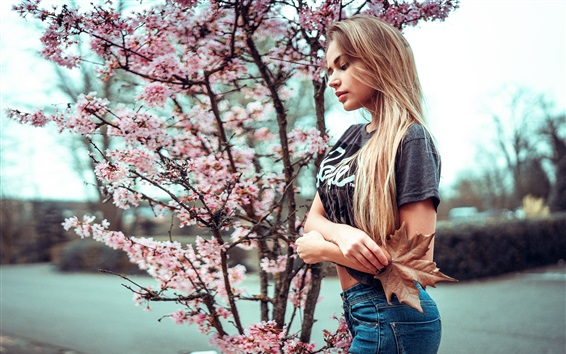 Wallpaper Blonde girl and cherry flowers