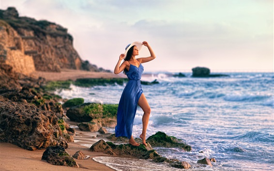 Wallpaper Blue dress girl at coast, rocks, sea