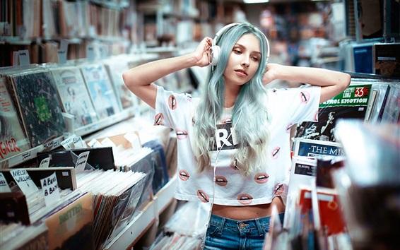 Wallpaper Blue hair girl, headphones, music