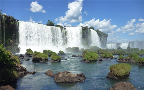 Wallpaper Brazilian Iguazu Falls, stones, grass, blue sky, clouds