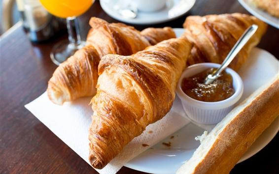 Wallpaper Breakfast, croissants, bread, jam