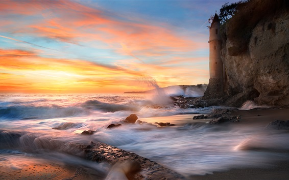 Wallpaper California, sea, waves, rocks, sunset, clouds