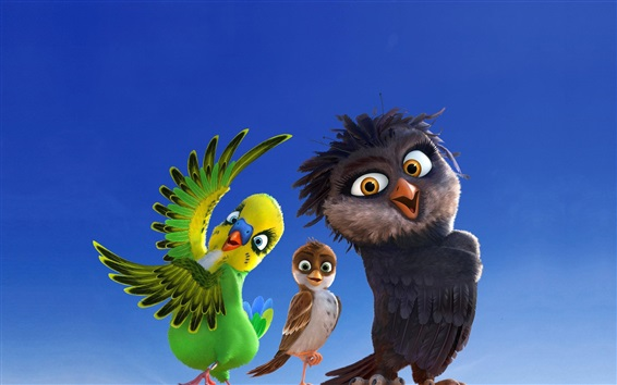 Wallpaper Cartoon movie, parrot, sparrow, owl