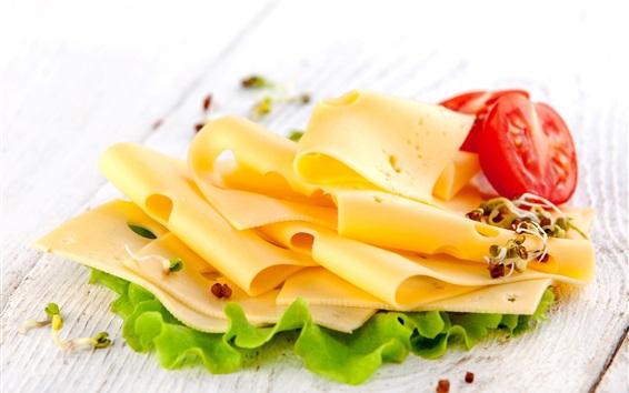 배경 화면 치즈, 토마토, 아침 식사