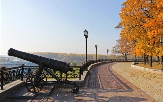 Wallpaper Chernigov, Ukraine, autumn park, trees, cannon