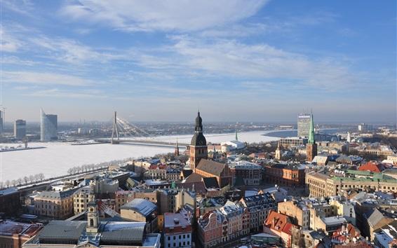 Papéis de Parede Cidade, casas, rio, ponte, Riga, Letónia
