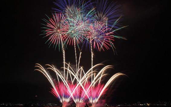 Wallpaper City night, fireworks, lights