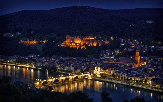 Обои Город ночь, река, мост, дома, освещение, Гейдельберг, Германия