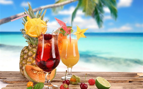 배경 화면 칵테일, 유리 컵, 과일, 파인애플, 딸기, 체리, 라임, 멜론