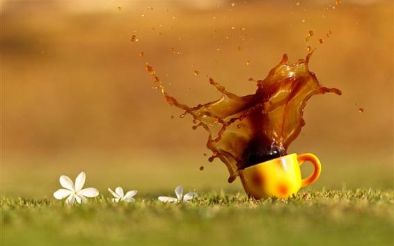 Wallpaper Coffee splash, cup, grass, water drops