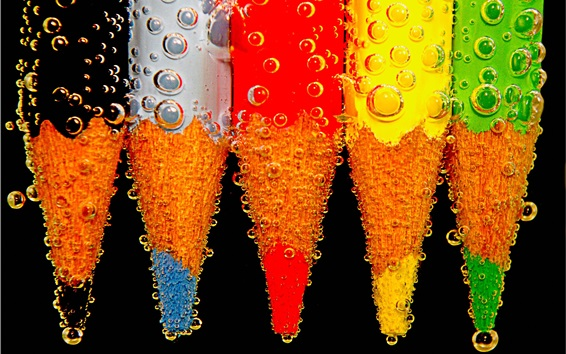 Wallpaper Colorful pencil, water bubbles