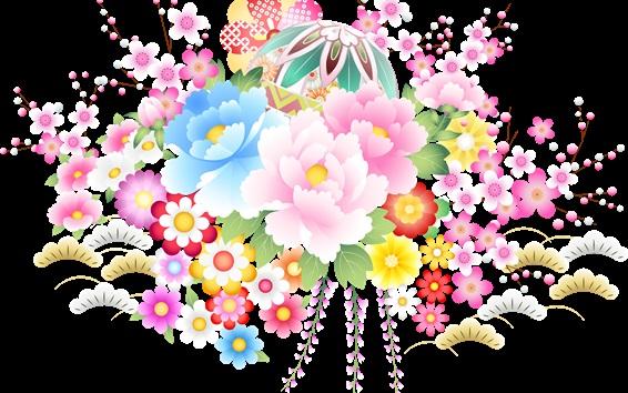 Fond d'écran fleurs vecteur Colorful