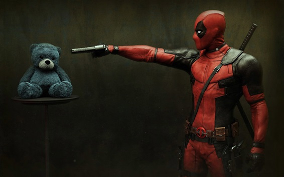 Wallpaper Deadpool and Teddy Bear