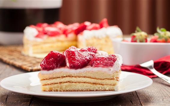 Обои Вкусный десерт, сладкое, кремовый торт, клубника