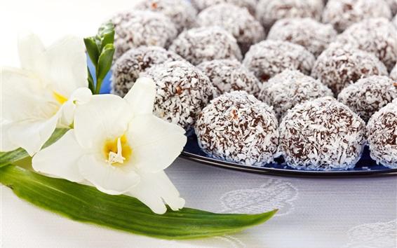 Wallpaper Dessert, coconut chocolate candy, flower