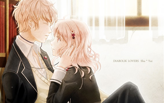 Wallpaper Diabolik Lovers, anime girl and boy