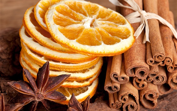 Wallpaper Dry food, lemons slices, spices, cinnamon