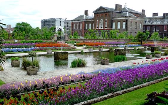 Wallpaper England, London, Kensington, park, flowers, house