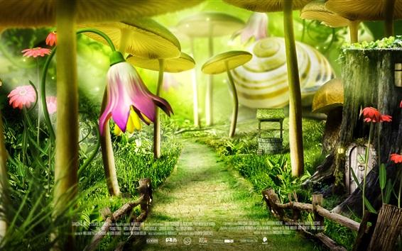 Papéis de Parede floresta conto de fadas, flores, filme de desenhos animados