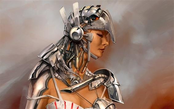Wallpaper Fantasy girl, metal armor, warrior