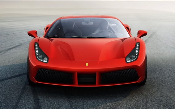 Fondos de pantalla Ferrari 488 GTB superdeportivo roja vista frontal