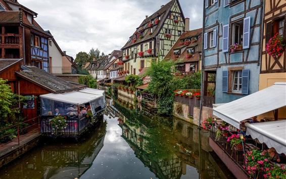 Fond d'écran France, Colmar, ville, café, rivière, maisons
