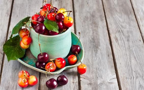 Wallpaper Fresh cherries, fruit photography