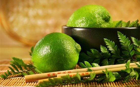 壁纸 新鲜水果,酸柑,绿色柠檬,叶子