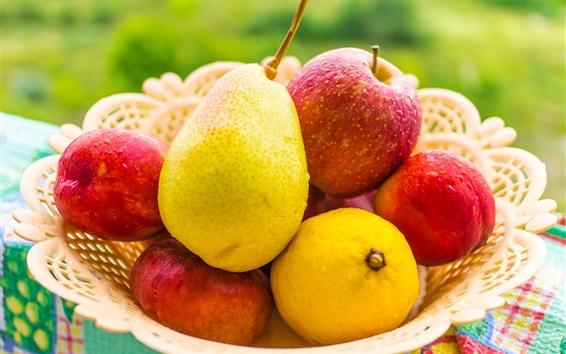 Wallpaper Fruits close-up, pear, apple, lemon, peach