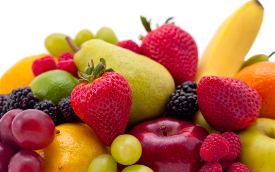 Wallpaper Fruits close-up, raspberry, apple, pear, grapes, strawberry
