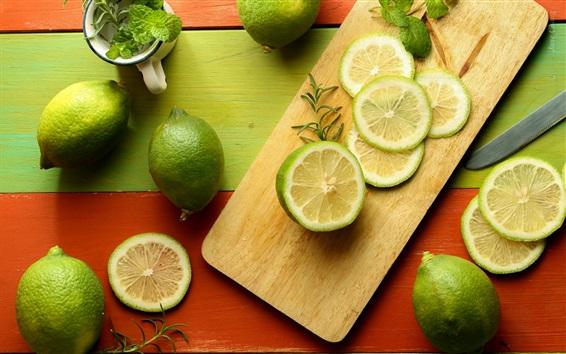 Papéis de Parede Frutas fotografia, limão, frutas cítricas, limão verde