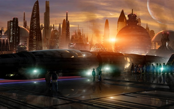 Fond d'écran ville avenir, gare, gratte-ciel, lune, nuit, design créatif